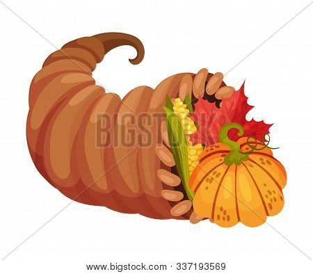 Cornucopia With Different Fruits And Crops Vector Illustration