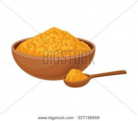 Aromatic Asian Spice Turmeric Golden Powder Vector Illustration