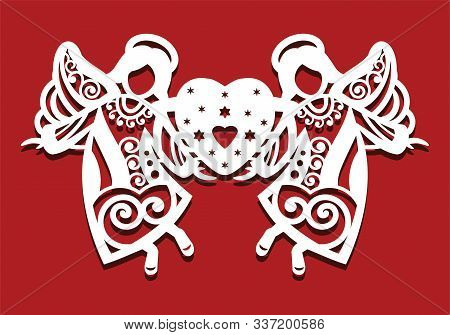 White Christmas Flying Two Angels On Red Background. Angels Keep The Heart In Their Hands. Silhouett