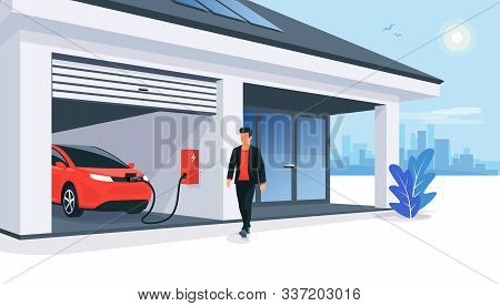 Electric Car Parking Charging At Smart House Garage Wall Box Charger Station Stand At Family Home. R
