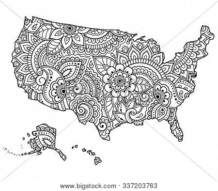 Outline Map Of United States Of America Filled With A High-detailed Floral Pattern. Flower Ornament