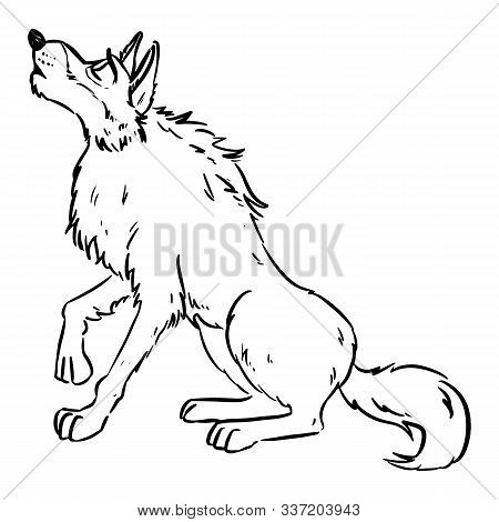 Wolf Howling On The Moon. Dog Or Wolf Lineart Cartoon Illustration. Canine In Lineart Style Art. Wil