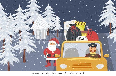 Christmas Eve:santa Claus Going On Holiday In A Yellow Taxi.santa Bags And Boxes With Gifts On The R
