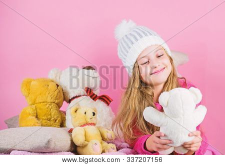 Teddy Bears Help Children Handle Emotions And Limit Stress. Child Small Girl Playful Hold Teddy Bear