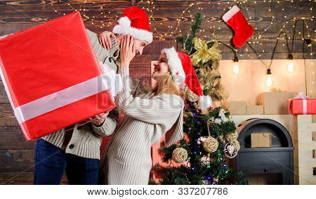 Man And Woman With Gift Box. Smiling Guy With Giant Present. Spread Happiness. Giving Happiness. Gen