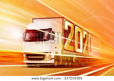 3d illustration of white semi truck like incoming year 2020 moving on road