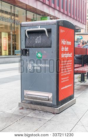 Stockholm, Sweden - September 24, 2019: Street Rubbish Bin Or Trash Can In Stockholm.