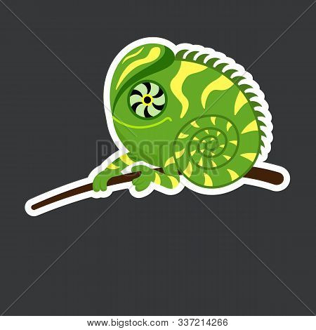 Cute Iguana Sticker Template In Flat Vector Style