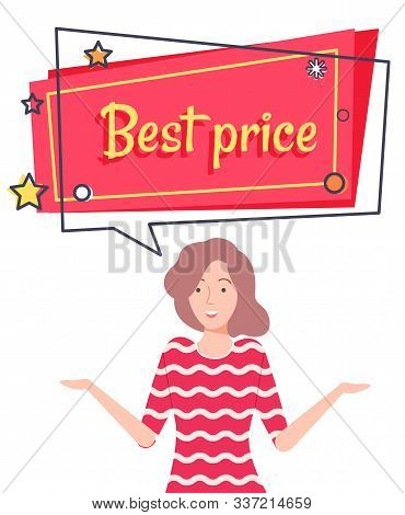 Best Price With Discount On Sale Capture On Pink Field. Good Deal For People. Happy Brunette Girl Of