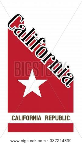 Text Proclaiming California With A Red Shadow And Flag Icons Isolated On A White Background