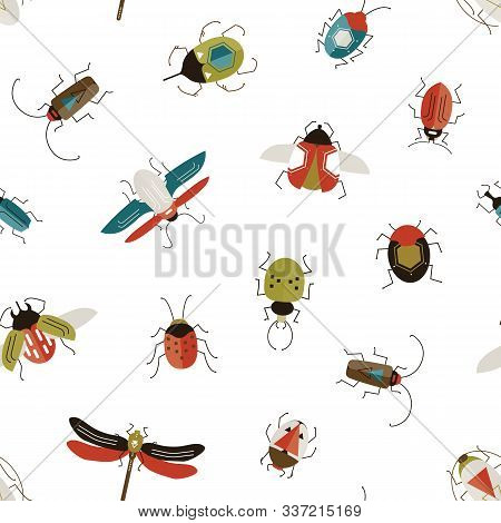Bugs And Beetles Vector Seamless Pattern. Insects Colorful Texture. Stag-beetle, Ladybugs, Ladybirds