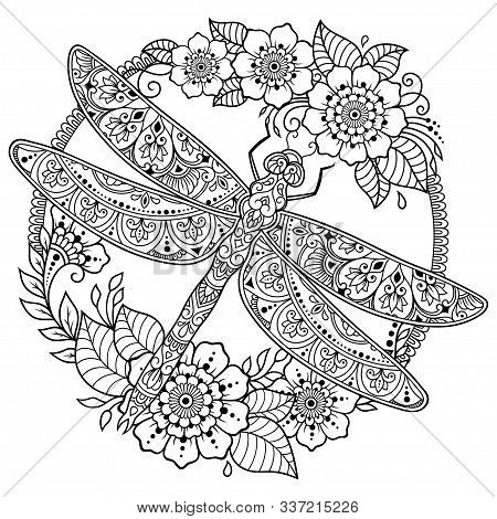 Circular Pattern In Form Of Mandala With Dragonfly And Flower For Henna, Mehndi, Tattoo, Decoration.
