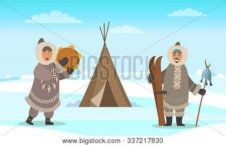 Eskimo Men Standing Near Shelter Like Wigwam. Indigenous North People In Warm Clothes, Winter Coat,