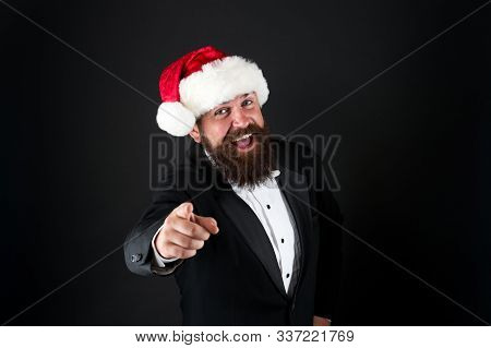 Naughty Or Nice. Happy Santa Point Finger At You. Christmas Advertising. Focus On Holiday Advertisin