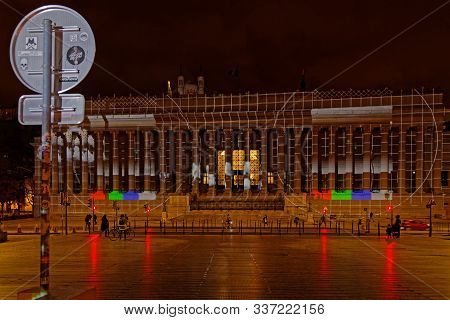 Lyon, France, December 2, 2019 : The City Prepares Itself For The Four Nights Of Fete Des Lumieres (