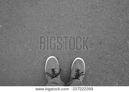 Feet In Canvas Shoes Standing On Street - Foot Selfie From Personal Perspective Point Of View - Asph