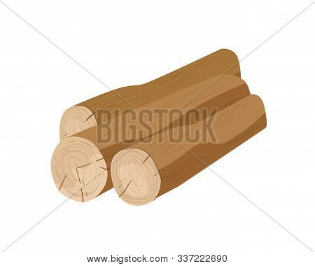 Brown Tree Trunks Flat Vector Illustration. Wooden Logs, Building Material. Felled Wood, Natural Ind