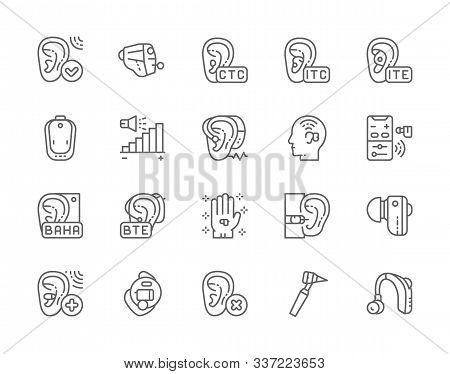 Set Of Hearing Aid Line Icons. Ear Canal, Volume Control, Hearing Loss And More.