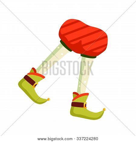 Funny Christmas Elf Feet Flat Vector Illustration. Santa Claus Helper Cartoon Character. Elfin Legs