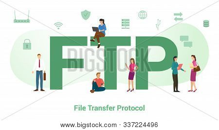 Ftp File Transfer Protocol Concept With Big Word Or Text And Team People With Modern Flat Style - Ve