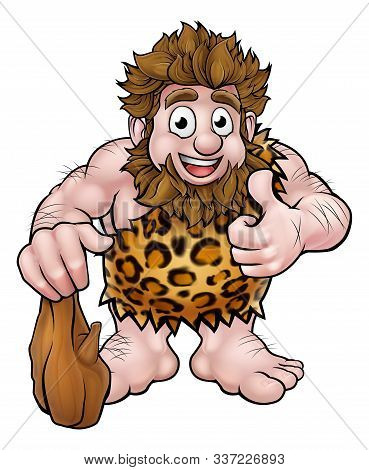 Cartoon Caveman In An Animal Skin Giving A Thumbs Up And Holding A Club.