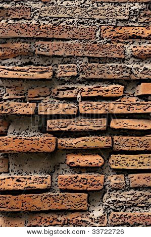 Red Brick Wall Illustration