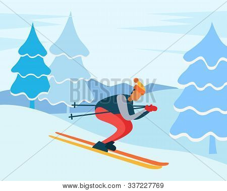 Man Skiing Downhill In Winter Forest. Ski Resort Path For Training Winter Sports. Male Wearing Warm