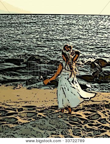 Girl In Dress on Beach Illustration