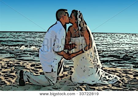 Wedding Kiss on Beach Illustration