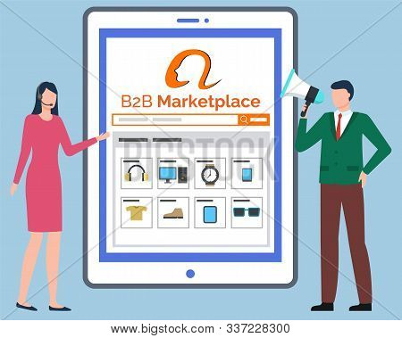 B2b Marketplace, Tablet Computer With Online Store Website. Catalogue With Clothes And Household App