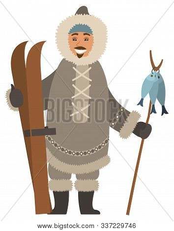 Smiling Eskimo Man Wearing Warm Fur Clothes And Mittens Holding Skis And Wooden Stick With Fish. Arc