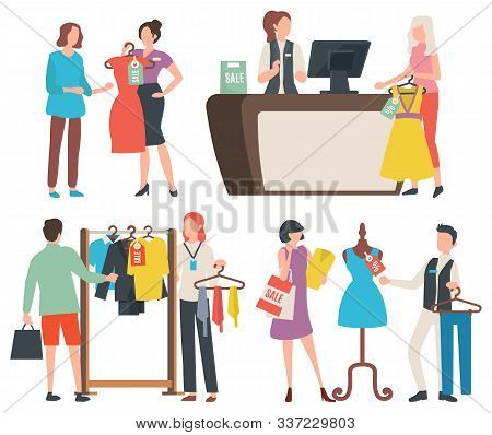 Shopping People Vector, Isolated Woman Holding Dress, Cashier At Counter With Client. Mannequin And