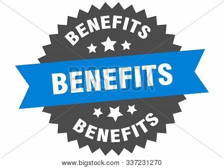 Benefits Sign. Benefits Blue-black Circular Band Label