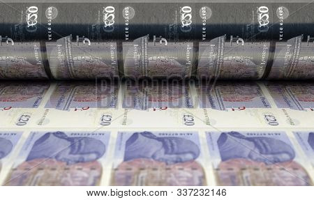 A Concept Image Showing A Sheet Of British Pound Notes Going Through A Roller In Its Final Phase Of