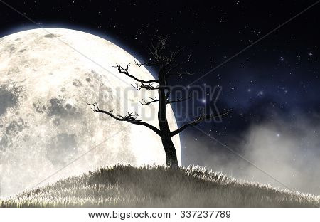 A Concept Image Showing A Dead Leafless Tree On A Grassy Hill At Night On The Backdrop Of A Full Moo
