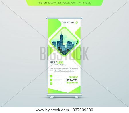Green Business Roll Up Banner. Abstract Roll Up Background For Presentation. Vertical Roll Up, X-sta