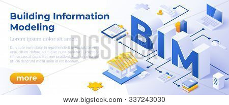 Bim - Building Information Modeling Or Life-cycle Facility Management. Isometric Concept In Trandy C