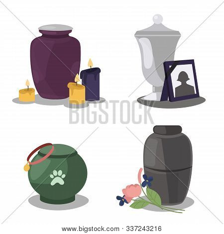 Collection Funeral Service Icons With Urns Of Cremation Ceremony. Funeral Columbarium Urn With Burni
