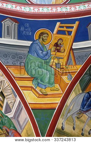 OHRID, MACEDONIA - MAY 04, 2019: Saint Luke the Evangelist, fresco in the Church of Saint Paraskeva of the Balkans near Saint Naum Monastery, Ohrid in Macedonia