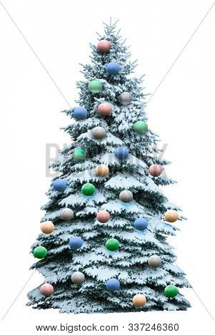 Christmas tree in snow isolated on white  background.Beautiful green tree decorated with balls.