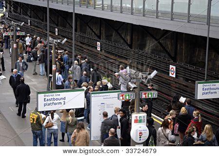 crowd at london tube station