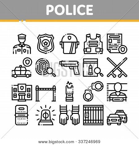 Police Department Collection Icons Set Vector Thin Line. Policeman Silhouette, Police Badge And Body