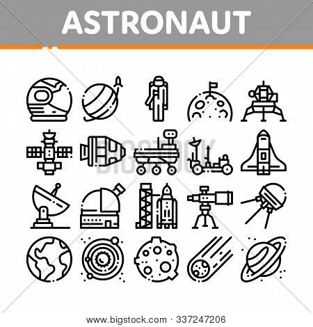 Astronaut Equipment Collection Icons Set Vector Thin Line. Astronaut Spacesuit And Helmet, Shuttle A