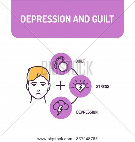 Depression And Guilt Color Line Icon. A Mood Disorder That Causes A Persistent Feeling Of Sadness. P