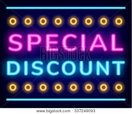 Special Discount Neon Sign Vector. Exclusive Offer On Cyber Monday, Shiny Banner With Glowing Font A
