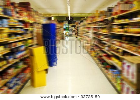 supermarket aisle with motion blur