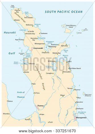 Overview Map Of The New Zealand Coromandel Peninsula
