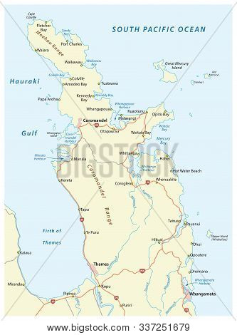 Road Map Of New Zealand Coromandel Peninsula