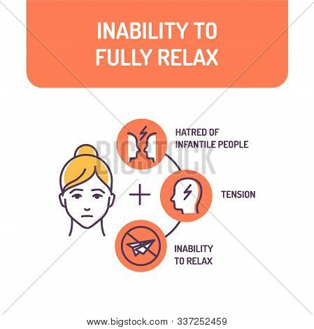 Inability To Fully Relax Color Line Icon. Stress State. Unability To Feel Rested. Pictogram For Web