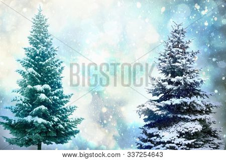 Christmas Tree - Isolated over vibrant colors background. Merry Christmas and happy new year concept.